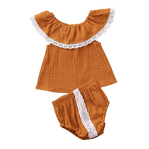 LEXUPE Infant Baby Girls Schulterfrei Solid Print Lace Tops + Shorts Outfits Sets(Gelb,100)