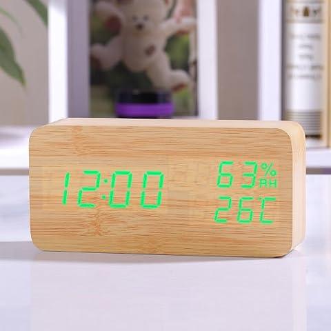 Cunclock Multifunktions-LCD-Elektronische Anzeige Led Geburtstagserinnerung Mute Table Top Wecker für Studenten Gelb Holz grüne Zeichen