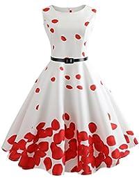KIMODO Women Vintage Printing Body-Con Sleeveless Evening Party Prom Swing Dress
