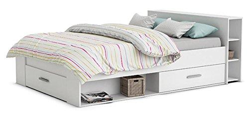 Funktionsbett 160*200 cm weiß inkl 3 Roll-Bettkästen 2 Regale Kinderbett Jugendbett Jugendliege Bettliege Bett Jugendzimmer Kinderzimmer