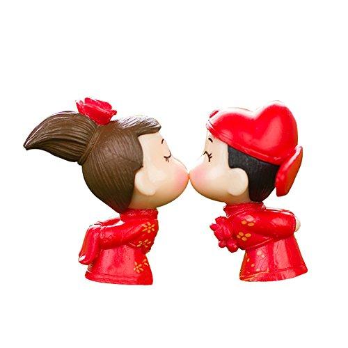LAMEIDA Jardin Féérique Miniature Bride Groom Dessin animé Ornement Dollhouse Pot de Fleurs Figurine DIY Craft pour Jardin extérieur Décoration de Maison 1 Paire, Résine, Red, 2.2 * 3.5cm