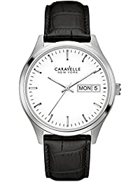 Caravelle 43C113 Men's Corporate Exclusive White Dial Black Leather Strap Watch