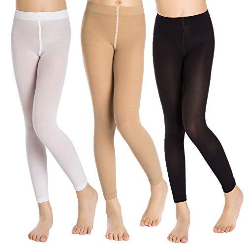 Aaronano 3 Paare Mädchen Leggings Ballett Tanzstrümpfe Footless Strumpfhosen 40 Denier Alter 1-13 -