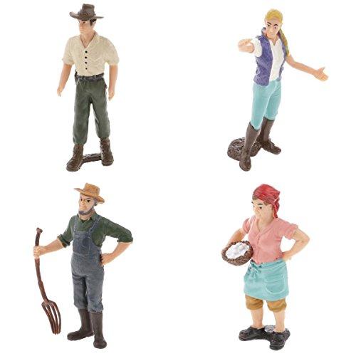 Homyl 4er/Set weibliche & männliche Bauer Action Figuren Spielfiguren Modell Dekofiguren