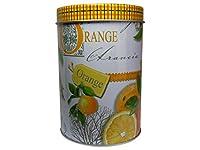 Boîte à thé en métal orange 300 g motifs anglais &jameson tailor de 13 x 9 cm