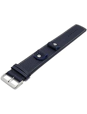 Meyhofer Uhrband Kassel Classic 14-16-18-20mm dunkelblau Leder genarbt helle Naht Unterlagenband MyFcslb355/14...
