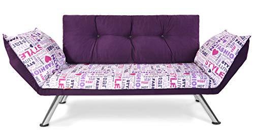 EasySitz 2 Sitzer Sofa 2-Sitzer Schlafsofa Zweisitzer Kleines Schlafsessel Bettsofa Futon Bed Couch Sessel Sitz Klein Sitzen für Er EIN Einer Zweier Mein Personen Farbauswahl (Aubergine Fassoniert)