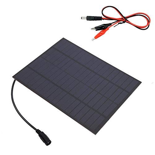 Alomejor Photovoltaik Solarmodul aus Polykristallinem Silizium12 V 5 W mit Krokodilklemme zum Laden der Batterie in einem Wohnwagen Wohnmobil Yachtboot