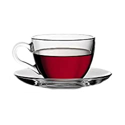 Pasabahce Basic Set of 6 Cup & Saucer,238 ml