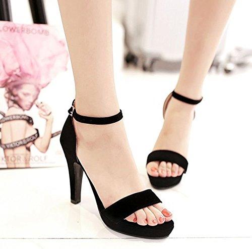 Lgk & Fa Avec Des Chaussures Avec Un Mince Haut Talon Orteil Boucle Sandales D'été Mot Femelle 36 Noir 39 Noir