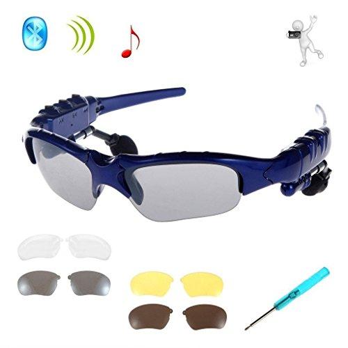Drahtlose Kopfhörer Sonnenbrille,KINGCOO Sport Bluetooth Musik Headset Kopfhörer für iPhone 7/7 Plus Samsung Bluetooth-Geräte + Gratis Austauschbare 3 Paar Objektiv (Blau)