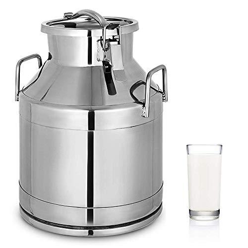HUKOER 304 Edelstahl Milchkanne 20 Liter Milchtransporteimer Weinfass Tote Jug 5,25 Gallonen Milchkanne Tote Jug mit versiegeltem Deckel Heavy Duty