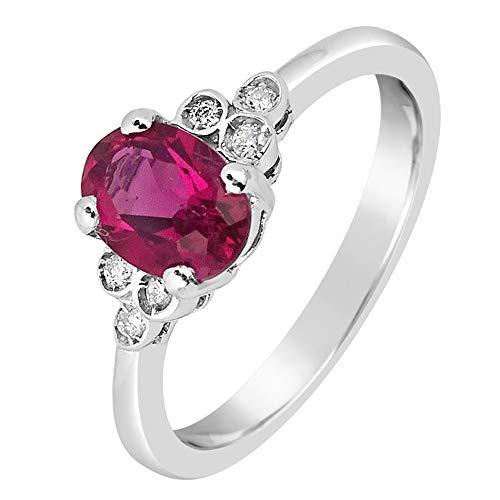 ❤ ️ mille amori anello donna-oro bianco 9kt 375/1000-diamanti 0,05kt-rubino sintetico 0.8carati 7x 5-gems collection e oro bianco 375/1000, 14, cod. 2381