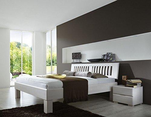 Dreams4Home Massivholzbett \'Paris I\'-140;180;200x200, Buche massiv, weiß gebeizt, Liegefläche:200x200 cm, Nachtkonsole:Zwei Nachtkonsolen