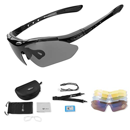 RockBros Cycling Black Sunglasses Outdoor Sport Running Fish Glasses 1 Lense