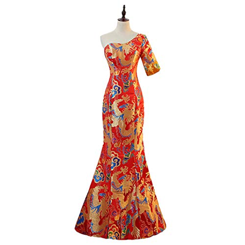 New Traditional Hand-Embroidered Printing Auspicious Moccased Evening Dress Long Section Fishtail Dress Chinese Style Costumes In The Sleeves (XL) -
