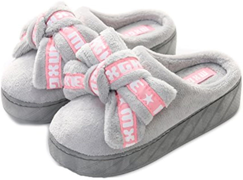 Auspicious beginning Las mujeres ocasionales plataforma de invierno pajarita zapatos cuñas zapatillas al aire...