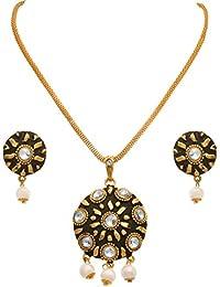 JFL - Traditional Ethnic One Gram Gold Plated Diamond Matt Black Designer Pendant Set With Earring For Women And...