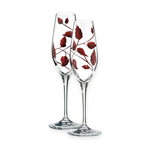 Qualität Ruby Blatt Ranke champagner Flöten Paar–mundgeblasene/Handdekoriertes Glas–ideal Ruby Hochzeit/Geschenk zum 40. Hochzeitstag