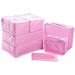 EWPARTSES 7 Piezas Bolsas de Viaje de Nylon Impermeables para Maletas (Rosa)
