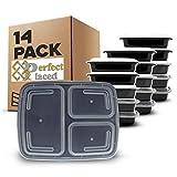 [14 piezas] Contenedores de Alimentos con 3 Compartimiento sin BPA | Fiambrera de Plástico Reutilizable con Tapa. Apilable, se Usa en el Congelador, Microondas y Lavavajillas. Bento Box + Ebook
