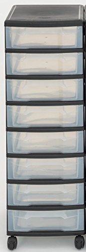 Unbekannt Iris Schubladenbox mit Rollen, Kunststoff, schwarz/transparent (8 Kleine) - Schubladenschrank Schubladen-Container stapelbar Rollwagen Rollcontainer Werkzeugschrank Keller