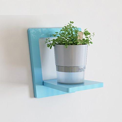 ZHIWUJIAZXM GRJH® Rack, Kreativ auf der Wand Wohnzimmer Regal Wand Hängend Blumenregale Rahmen Balkon Wand Pflanze Blumentopf Rack 30 * 30 * 20cm Wasserdicht und Langlebig (Farbe : Blau) 5 Regal-land Bücherregal