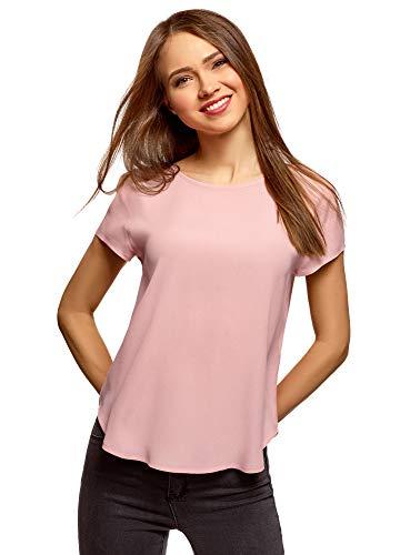 Oodji ultra donna camicetta larga con taglio a goccia sul retro, rosa, it 44 / eu 40 / m