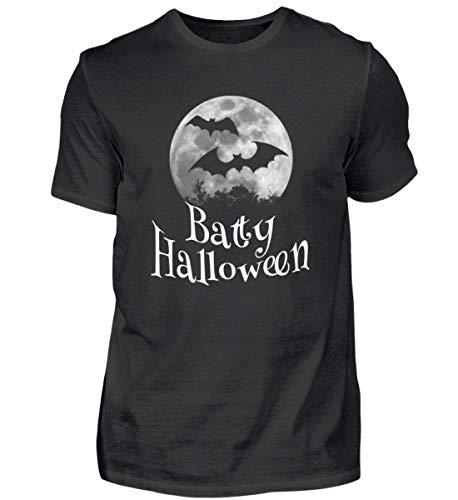 Shirtee Batty Happy Halloween - Gruselige Fledermäuse vor Stylischem Vollmond an Samhain - Herren Premiumshirt