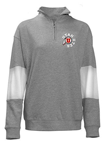 Old Varsity Marke Damen Utah Utes Damen Plus QTR Zip French Terry, Damen, Ladies Plus Qtr Zip French Terry, Grau/Weiß, 1 Stück -