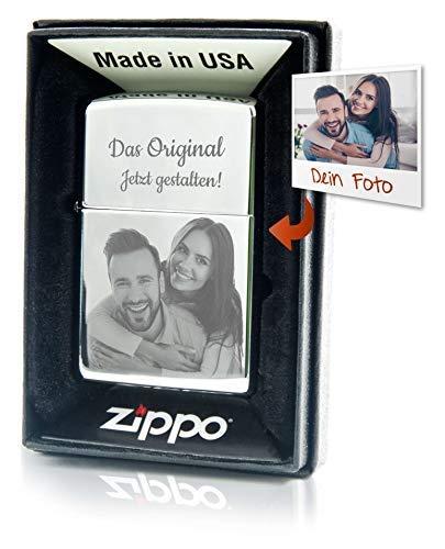 Geschenkfreude Zippo Feuerzeug mit Gravur - Dein Wunschbild auf dem Sturmfeuerzeug graviert Wunschgravur personalisiert - Chrome poliert - Personalisierte Geschenke