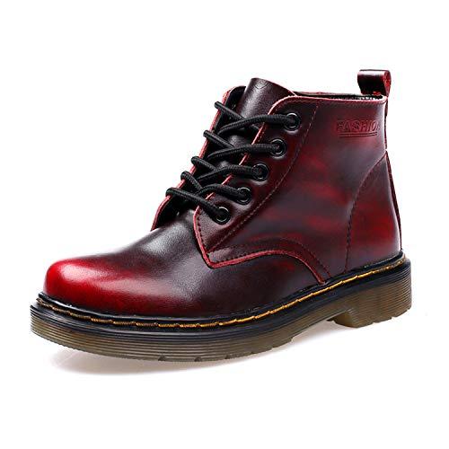 SITAILE Unisex-Erwachsene Bootsschuhe Derby Schnürhalbschuhe Kurzschaft Stiefel Winter Boots für Herren Damen Gefüttert Schwarzrot EU43