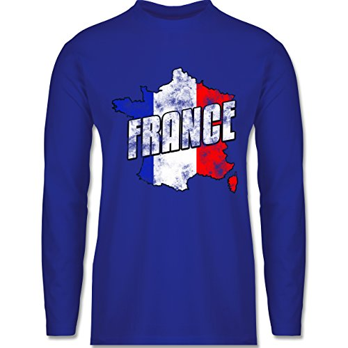 Shirtracer Fußball-WM 2018 - Russland - France Umriss Vintage - Herren Langarmshirt Royalblau