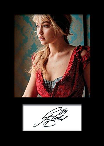 Frame Smart Gigi Hadid 3 | Signierter Fotodruck | A5 Größe passend für 6x8 Zoll Rahmen | Maschinenschnitt | Fotoanzeige | Geschenk Sammlerstück