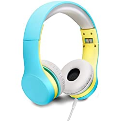Auriculares para niños con volumen limitado y cable extraíble, para niños y niñas, verde petróleo