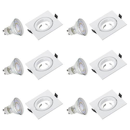 SEBSON Einbaustrahler 6er Set eckig, quadratisch, weiß/Aluminium, Alu/inkl. LED Lampe GU10 3,5W, GU10 Fassung