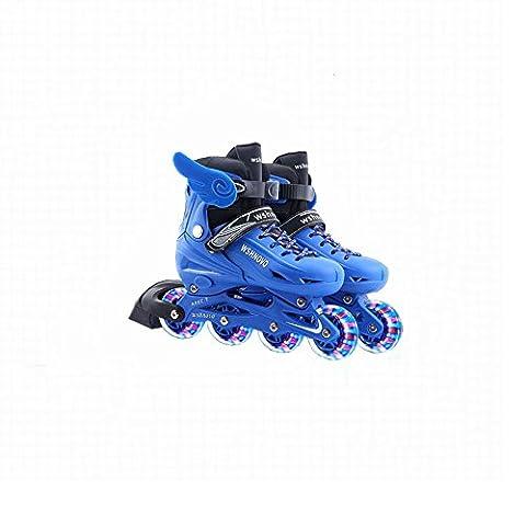 Crayom Jungen und Mädchen Kinder Schlittschuhe Eine ganze Reihe von Kindern Schwitzen Schlittschuhe Einzelne Reihe von flachen Schuhen Flash Skating Schuhe gerade Runde Roller Skates Adult Skates ( Color : Blue , Size : S )