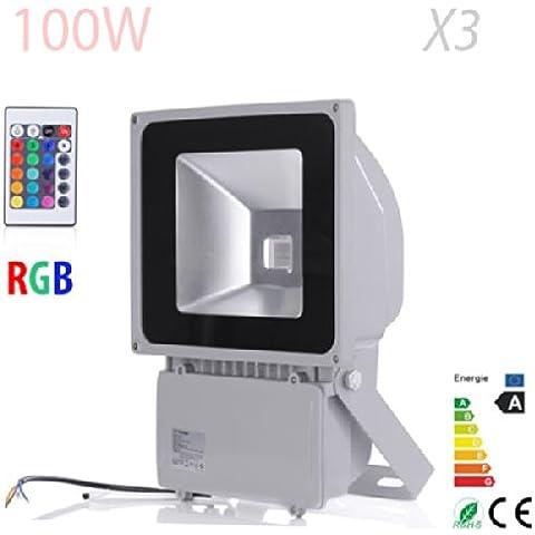 10W 20W 30W 50W 100W LED reflector rgb de luz de inundación impermeable del paisaje Iluminación de la lámpara 85-265V blanco frío (3,