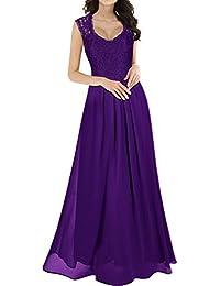 cd306ee7789 Miusol Damen Elegant Ärmellos V-Ausschnitt Spitzenkleid Brautjungfer  Partykleid Festliches Kleid Chiffon Faltenrock Langes Kleid