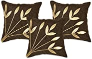 NEHA HANDICRAFTS 3 Piece Jute Fabric Decorative Handmade Golden Leather Leaves Bouquet Design Sofa Cushion Cov
