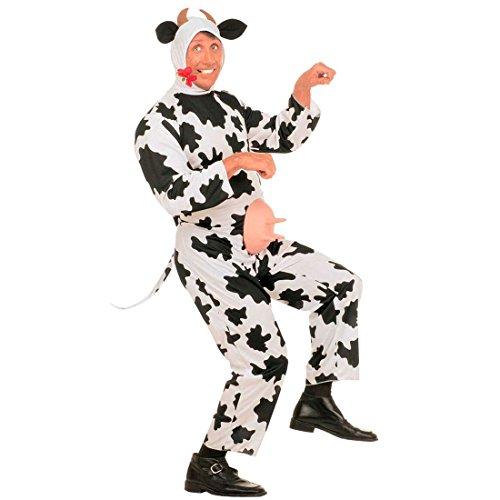 Herren Kuh Kostüm mit Euter L 52 Rind Tierkostüm Fasching Plüschkostüm Plüsch Overall Herrenkostüm Jumpsuit Faschingskostüm Junggesellenabschied Mottoparty Verkleidung Karneval Kostüme Männer (2 Mann Kuh Kostüm)