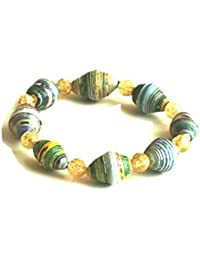 Handmade Paper Bead Bracelet with stretch elastic by Mimi Pinto