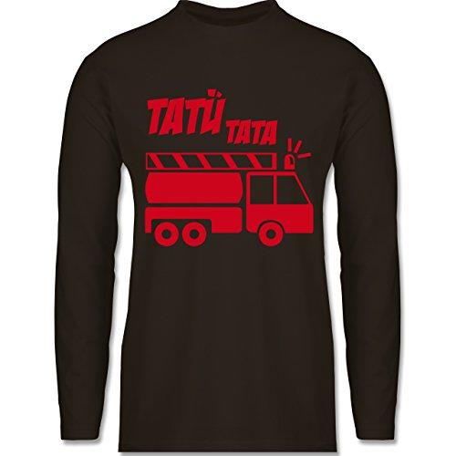 Feuerwehr - Tatü Tata - Longsleeve / langärmeliges T-Shirt für Herren Braun