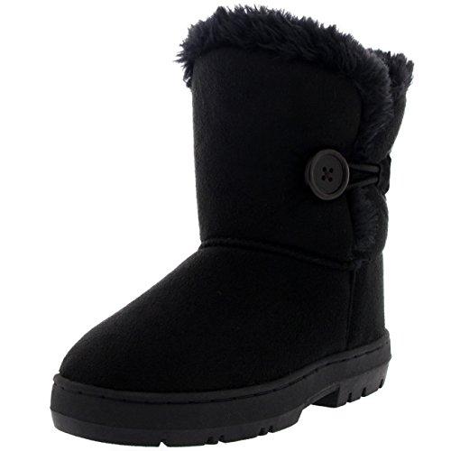 Holly Kinder Mädchen Button Winter Pelz Gefüttert Schnee Regen Gemütlich Lässig Warm Stiefel - Schwarz - BLA33 AEA0444