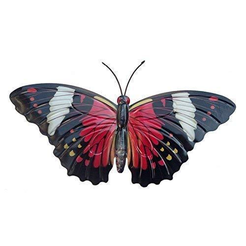 Primus groß rot & schwarz Metall Garten Schmetterling Wandkunst für Außen Zäune Schuppen Wände (Rote Schlüsselloch)