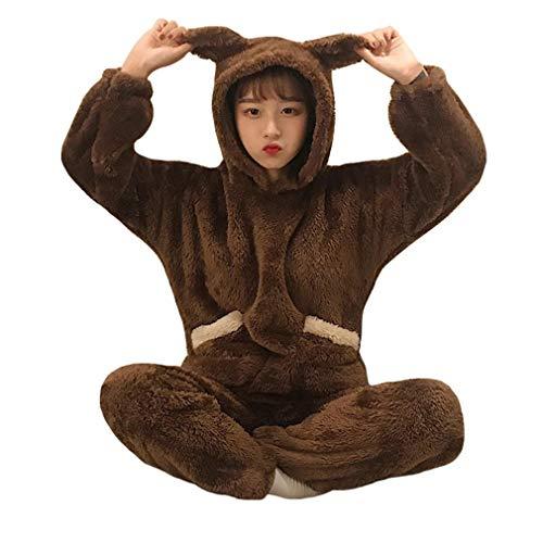 RGHOP Herbst Winter Süße Nette Home Service Set Plüsch Hoodie Falle Pyjama Pyjama Hosen Hosen Zweiteilige Weibliche, A, M (Weihnachts-pyjama Teens Für)