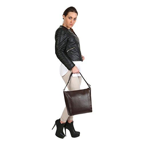 Trussardi Damen-Umhängetasche mit Trageriemen aus echtem Kalbsleder Made in Italy 32x31x13 cm Mod. 76B139SM Dunkelbraun