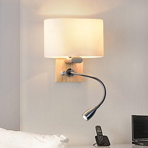 Qff nordic applique semplice moderna creativa soggiorno camera da letto lampada da comodino scale navata laterale in legno massiccio lampada da parete
