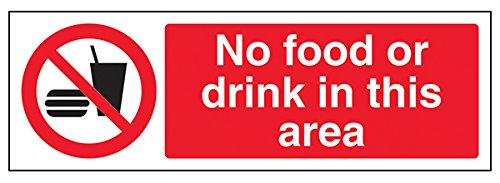 VSafety No Food Drink In This Area Sign - 300mm x 100mm - Self Adhesive Vinyl