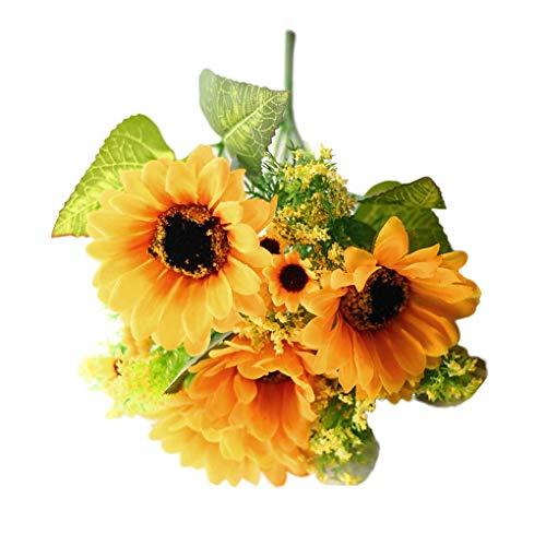 Fornateu Künstliche Sonnenblumen Seidenblumen Blumenstrauß Hochzeit Brautstrauß Partei Hausgarten-Dekor 7 Köpfe - Kopf-tisch-mittelstücke